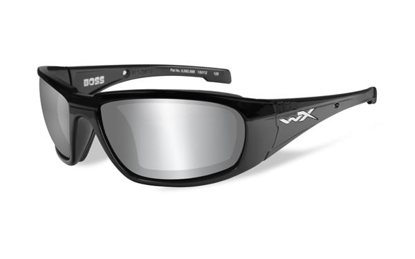 WX Boss - Matte Black, Silver Flash Mirror (Smoke Grey) Lenses 100 68-18