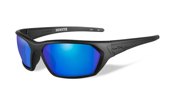 WX Ignite - Matte Black, Polarized Blue Mirror (Green) Lenses 65-19 130