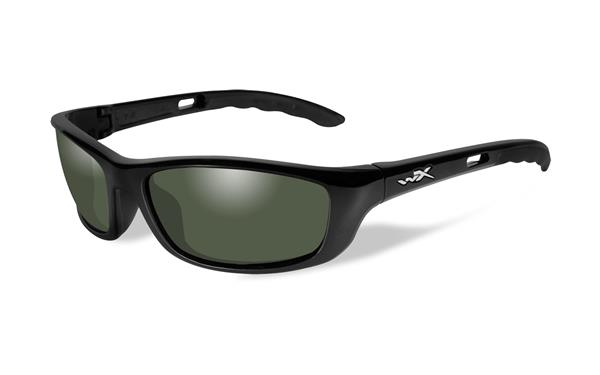 WX P-17 - Gloss Black, Polarized Smoke Green Lenses 130 61-18
