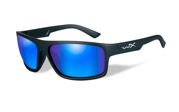 WX Peak - Matte Black, Polarized Blue Mirror (Green) Lenses 130 65-15