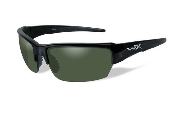 WX Saint - Gloss Black, Polarized Smoke Green Lenses 130 68-16