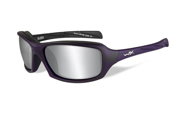 WX Sleek - Matte Violet, Silver Flash Mirror (Smoke Grey) Lenses 100