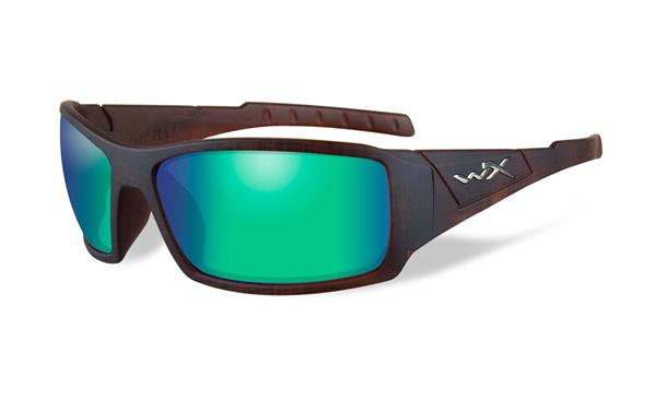 WX Twisted - Matte Hickory Brown, Polarized Emerald Mirror (Amber) Lenses 130 65-17