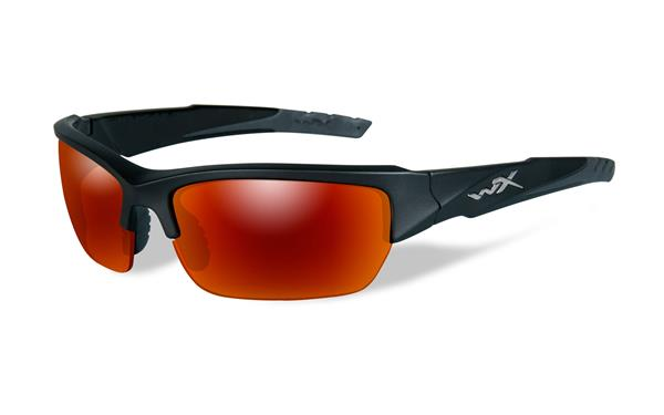 WX Valor - Black 2 Tone, Polarized Crimson Mirror (Grey) Lenses 130 70-18